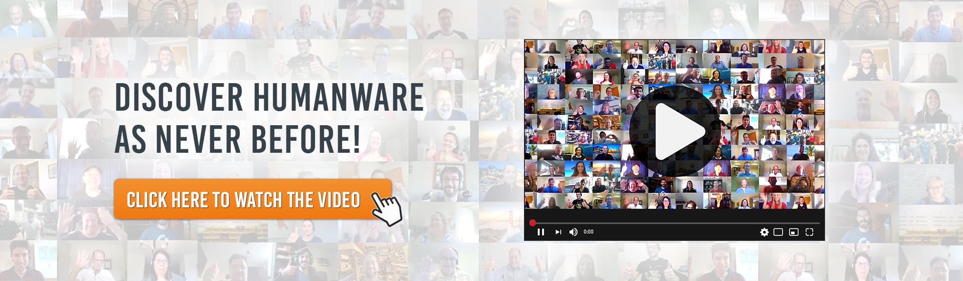 A screenshot of our corporate video showing the employees. We also read the text Discover HumanWare as neve before! Click here to watch the video.